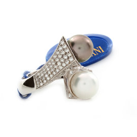 Damiani 18K White Gold Pearl Diamond Ring