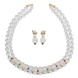 Boucheron 18K Yellow Gold Diamond & Multi-Gem Necklace Earrings Set