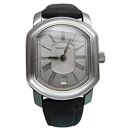 Tiffany & Co. Mark Coupe Date Guilloche Dial Stainless Steel Resonator Swiss Mens Watch