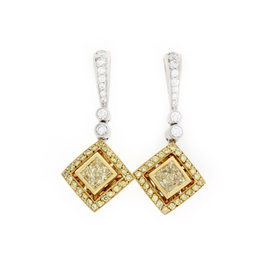 Michael Beaudry Platinum and 18K Yellow Gold Fancy Yellow Diamond Earrings