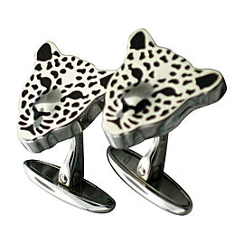 Carrera y Carrera White Gold Leopard Cufflinks