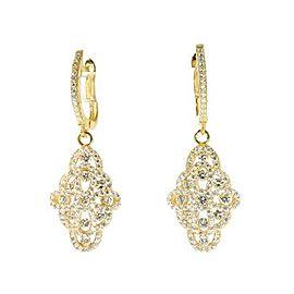 14k Yellow Gold Sterling Silver White Sapphire Chandelier Earrings