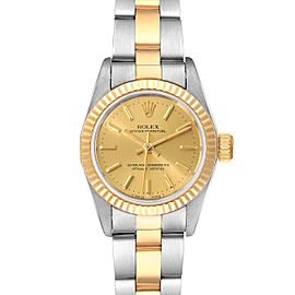 Rolex Oyster Perpetual Fluted Bezel Steel Yellow Gold Ladies Watch 67193 Box Pap