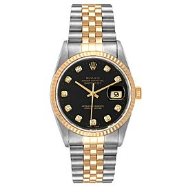 Rolex Datejust Steel Yellow Gold Black Diamond Dial Mens Watch 16233