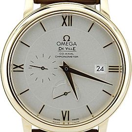Omega Deville 424.53.40.21.02 Prestige Power Reserve 18K Gold Brown Alligator Watch