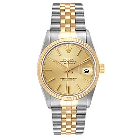Rolex Datejust Steel 18K Yellow Gold Fluted Bezel Mens Watch 16233
