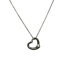 Tiffany & Co. 925 Sterling Silver 2 Diamond Medium Open Heart Pendant Necklace