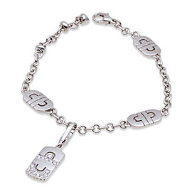 Bvlgari 18K White Gold Parentesi Diamond Bracelet