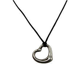 Tiffany & Co. Sterling Silver Elsa Peretti Diamond Open Heart Pendant Silk Necklace