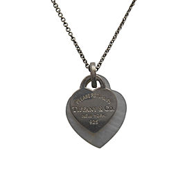 "Tiffany & Co. 925 Sterling Silver ""Please Return to Tiffany"" Mother of Pearl Enhancer Double Hearts Necklace"