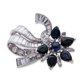 Platinum Diamond and Blue Sapphire Brooch
