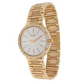 Piaget Dancer G0A38053 18K Rose Gold Silver Dial Diamond Diamond Bezel 28mm Watch