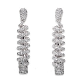 De Grisogono 18K White Gold Diamond Spiral Earrings