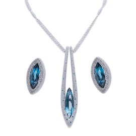 Palmiero 18K White Gold Blue Topaz Necklace and Earrings