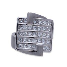 Luca Carati 18K White Gold Diamond Ring Size 6