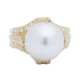 Henry Dunay 18K Yellow Gold Pearl & 0.85ct Diamond Ring Sz 7.25