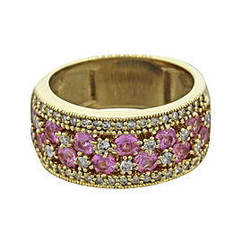 Effy 14K Yellow Gold 1.20Ct Pink Sapphire 0.64Ct Diamond Ring