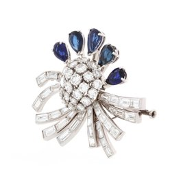 Platinum 10ct Diamond and Sapphire Brooch
