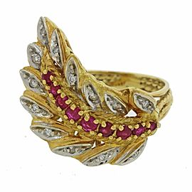 18k Yellow Gold Red Ruby Diamond Feather 1970s Vintage Ring Size 5.25