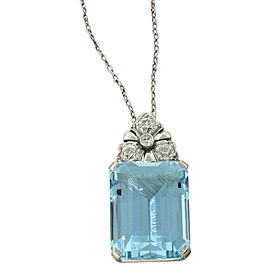 Platinum 21.02ctw Aquamarine & .40ct Diamond Pendant Necklace
