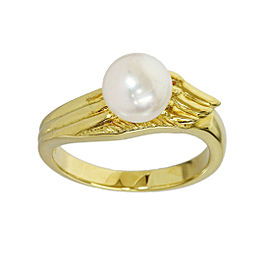 Mikimoto 18K Yellow Gold Pearl Design Ring