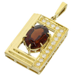 Mikimoto 18K Yellow Gold 0.18ct Diamonds & 3.28ct Garnet Top Charm