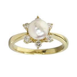 Mikimoto 18K Yellow Gold Pearl & Diamonds Flower Ring 5.25