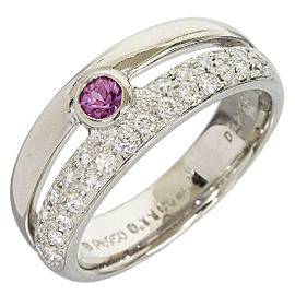 Mikimoto Platinum 0.23 Ct Diamond and 0.11 Ct Pink Sapphire Ring Size 5