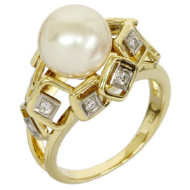 Mikimoto 18K White & Yellow Gold Pearl & 10P Diamond Ring Size 6.25