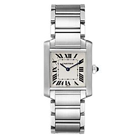 Cartier Tank Francaise Midsize Silver Dial Steel Ladies Watch WSTA0005 Box