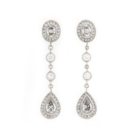 Michael Beaudry Platinum 3.82 Ct Diamond Earrings