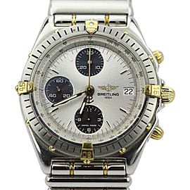 Breitling Chronomat B13048 Two Tone Black Eye Silver Dial Automatic 40mm Mens Watch 80's