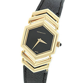 Tiffany & Co. 18K Yellow Gold Black Hexagon Leather 27mm Womens Watch