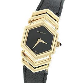 Tiffany & Co. 18K Yellow Gold Black Hexagon Leather 27mm Womens Watch