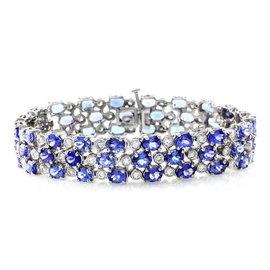 14K White Gold Three Row Tanzanite & Diamond Bracelet