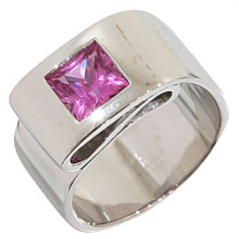 Hermes 18K White Gold Pink Tourmaline Ring Size 5
