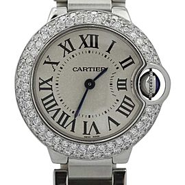 Cartier Ballon Bleu Stainless Steel with Diamond Bezel Quartz 27mm Womens Watch