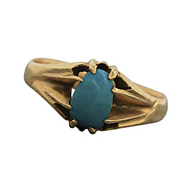 14K Yellow Gold & Turquoise Solitaire Ring Size 8.75