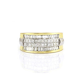 18k Yellow Gold 2.59ct. Princess and Baguette Diamond Band Size 8.25