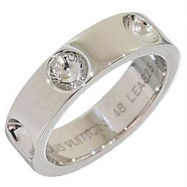 Louis Vuitton Empreinte 18K White Gold Band Ring Size 5