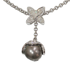 Louis Vuitton 18K White Gold with Black Pearl and Diamond Pendant Necklace