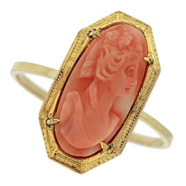 Victorian 14K Yellow Gold Red Coral Floral Carved Portrait Lady Cameo Ring Size 6