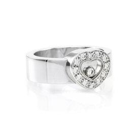 Chopard Happy Diamonds 18K White Gold 0.25 Ct Diamond Heart Ring Size 6