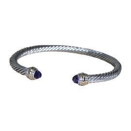 David Yurman 14K Yellow Gold & Sterling Silver Amethyst Cable Cuff Bracelet