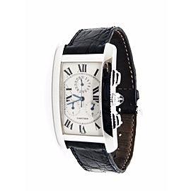 Cartier Tank CC215189 18K White Gold Chronoflex Tank Chronograph Quartz 27mm Unisex Watch