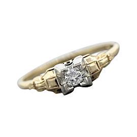 Vintage Art Deco 14K Yellow Gold Diamond Engagement Ring Size 8.75