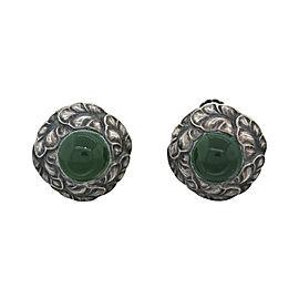 Georg Jensen 925 Sterling Silver Green Chrysoprase Clipon Screw Earrings