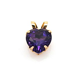 14k Yellow Gold & Heart Cut Amethyst Pendant