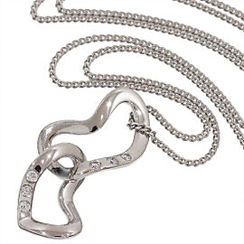 Georg Jensen 18K White Gold 0.06ct. Diamonds Heart Pendant Necklace