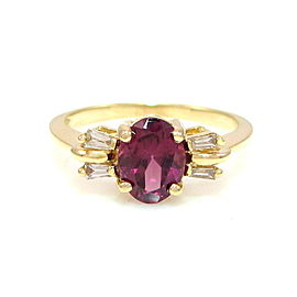 14k Yellow Gold Oval Cut Tourmaline & Diamond Ring Size 6.75